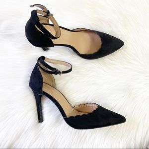 NY&CO Black Scalloped Trim Ankle Closure Heels
